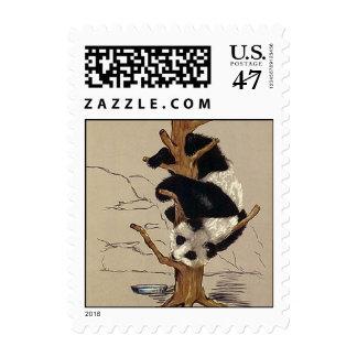 El oso de panda dulce lindo encima de un árbol sello postal