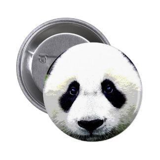 El oso de panda observa el botón de Pinback Pin Redondo De 2 Pulgadas