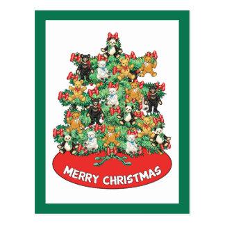 El oso de peluche adorable adorna el árbol de navi tarjeta postal