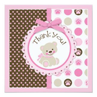 El oso de peluche adorable le agradece cardar rosa invitación 13,3 cm x 13,3cm