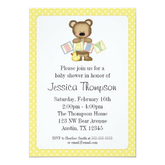 """El oso de peluche amarillo bloquea invitaciones de invitación 5"""" x 7"""""""