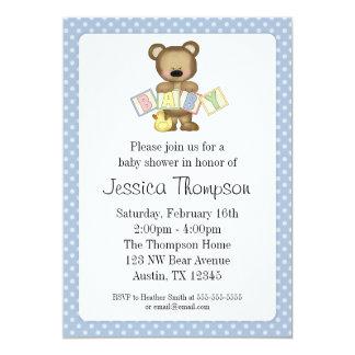 El oso de peluche azul bloquea invitaciones de la invitación 12,7 x 17,8 cm