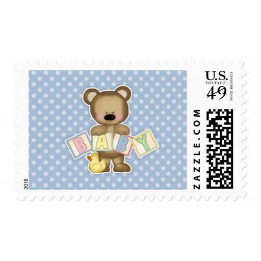 El oso de peluche azul bloquea la fiesta de estampilla
