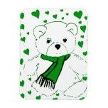 El oso de peluche blanco con verde claro calienta imán de vinilo