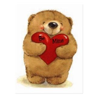 """El oso de peluche con """"sea el mío"""" corazón postal"""