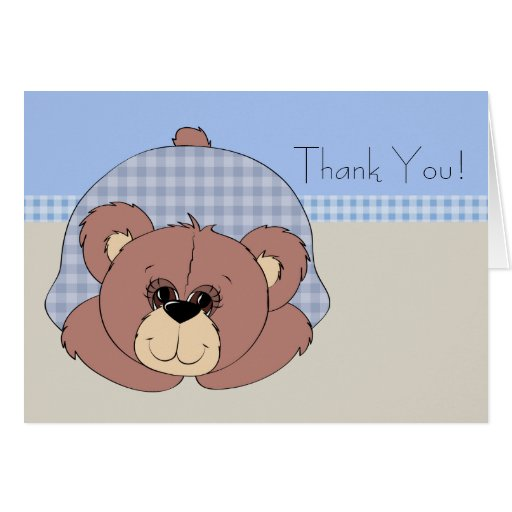 El oso de peluche de Brown azul le agradece las Tarjeta Pequeña