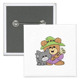 el oso de peluche de la bruja de Halloween y del g Pin Cuadrada 5 Cm