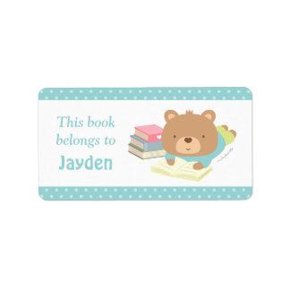 El oso de peluche lindo embroma etiquetas del etiquetas de dirección