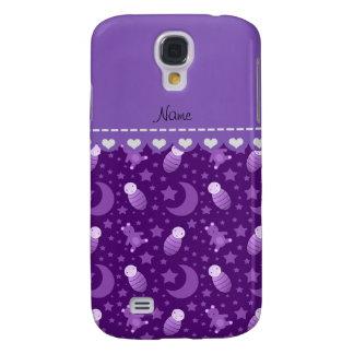 El oso de peluche púrpura personalizado del bebé funda para galaxy s4