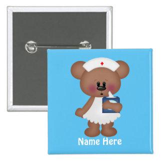 El oso del dibujo animado añade el botón conocido pin cuadrado