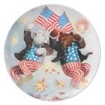 El oso del patriota celebra el cuarto de julio plato para fiesta