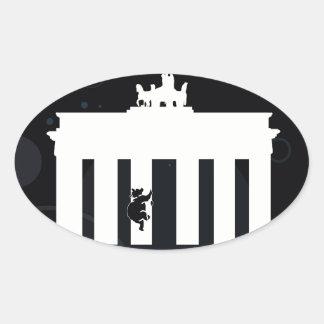 El oso en Berlín - Brandenburger portería Pegatina Ovalada