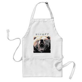 El oso grizzly enojado es… H u n g r y Delantal