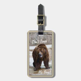 El oso grizzly no toca mi etiqueta del equipaje de etiquetas de equipaje