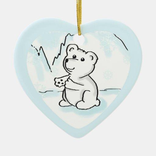 El oso polar Cub del primer navidad del bebé Ornamento De Navidad
