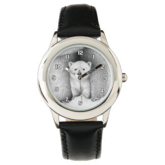 El oso polar Cub mira Relojes