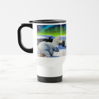 El oso polar Cubs que juega en arte de la fantasía Tazas