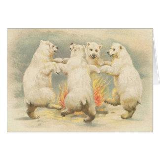 El oso polar del vintage lindo le agradece cardar tarjeta pequeña