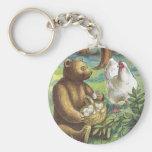 El oso pone los huevos de gallina en el vintage Pa Llavero Personalizado