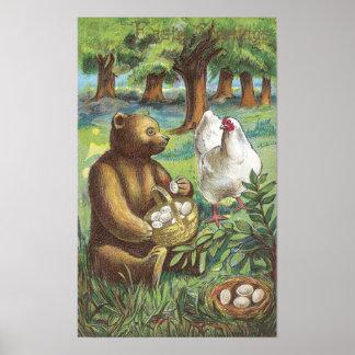 El oso pone los huevos de gallina en el vintage Pa Impresiones