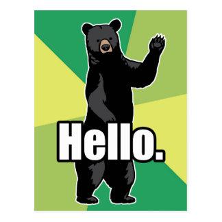 El oso que agita dice hola tarjeta postal