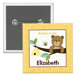 El oso y la abeja de miel modificaron el botón con pins