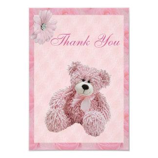 """El oso y las flores rosados de peluche le invitación 3.5"""" x 5"""""""