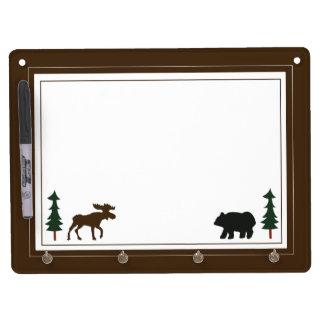 El oso y los alces de la casa de campo rústicos tablero blanco