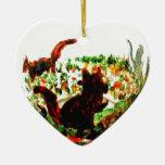 El otoño atesora el arte animal adorno navideño de cerámica en forma de corazón
