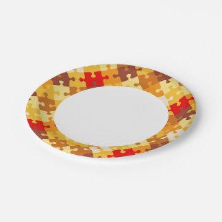 El otoño colorea el fondo del rompecabezas plato de papel de 7 pulgadas