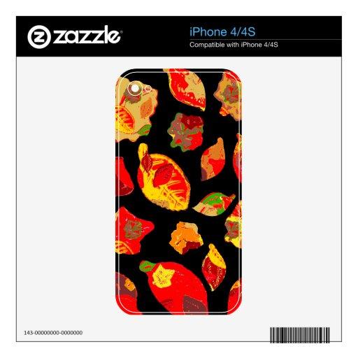 El otoño colorea el modelo de la hoja iPhone 4S skin