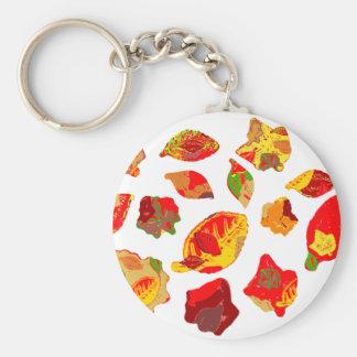 El otoño colorea el modelo de la hoja llavero redondo tipo pin