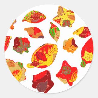 El otoño colorea el modelo de la hoja pegatina redonda