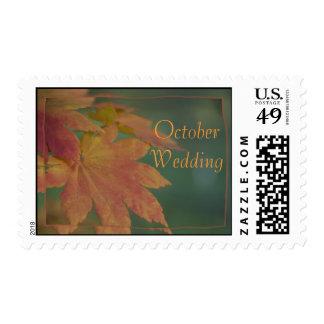 El otoño colorea el sello del boda de octubre