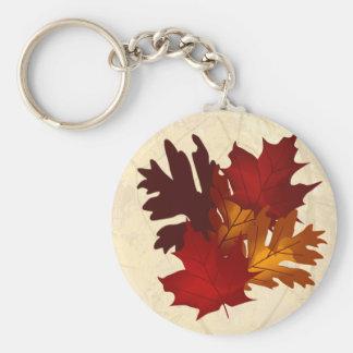 El otoño colorea llavero de las hojas del árbol
