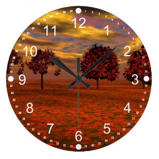 El otoño colorea los regalos del arte de los árbol reloj de pared