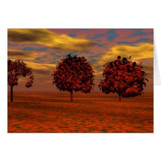 El otoño colorea los regalos del arte de los árbol felicitacion