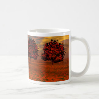 El otoño colorea los regalos del arte de los árbol taza de café