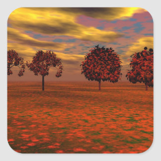 El otoño colorea los regalos del arte de los pegatina cuadrada