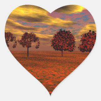 El otoño colorea los regalos del arte de los pegatina en forma de corazón