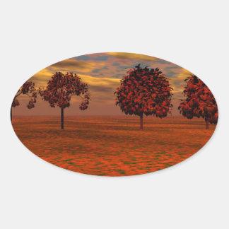 El otoño colorea los regalos del arte de los pegatina ovalada