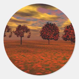 El otoño colorea los regalos del arte de los pegatina redonda