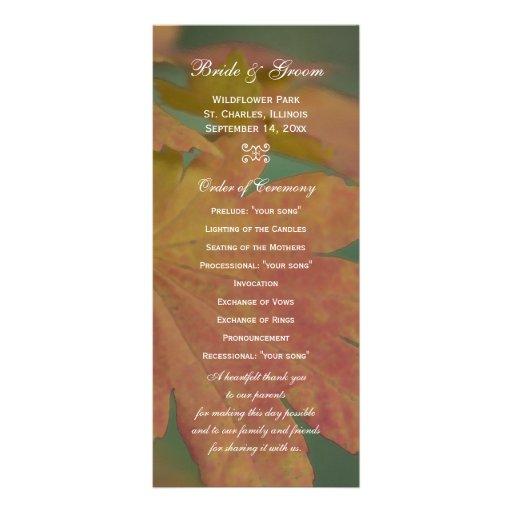 El otoño colorea programa del boda tarjeta publicitaria a todo color