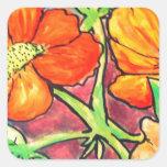 el otoño coloreado florece la acuarela pegatina cuadrada