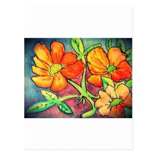 el otoño coloreado florece la acuarela postal