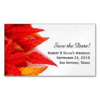 El otoño de las hojas el flamear ahorra el imán de tarjetas de visita magnéticas (paquete de 25)