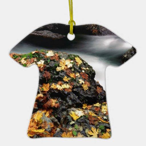 El otoño del agua cubrió el río de los alces de la adorno de cerámica en forma de playera