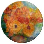 El otoño florece la placa de cena diseñada arte de platos de cerámica