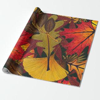 El otoño/la caída deja - el papel de embalaje para papel de regalo