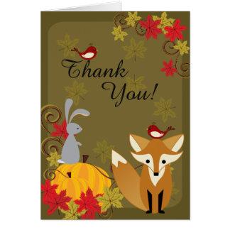 El otoño lindo de los animales del Fox y del Tarjeta Pequeña